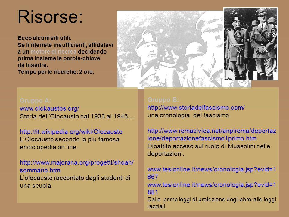 Risorse: Gruppo A: www.olokaustos.org/