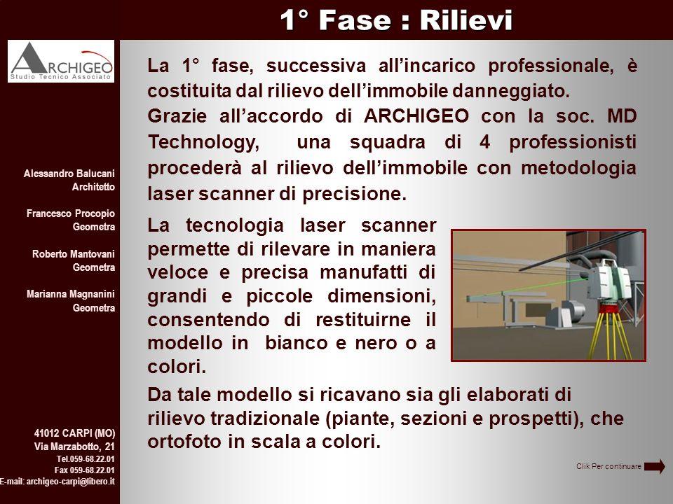 1° Fase : Rilievi La 1° fase, successiva all'incarico professionale, è costituita dal rilievo dell'immobile danneggiato.