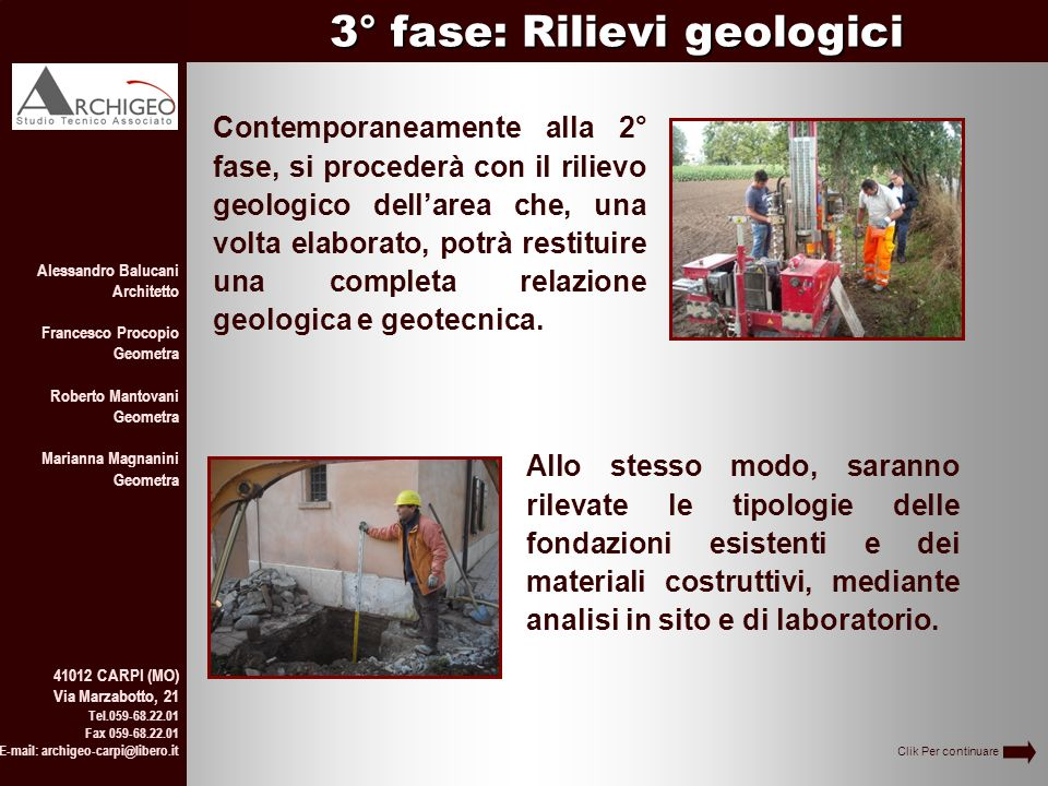 3° fase: Rilievi geologici