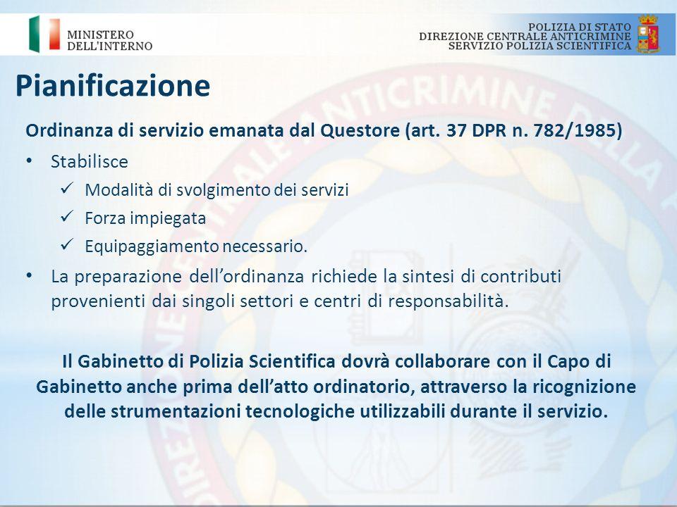 Pianificazione Ordinanza di servizio emanata dal Questore (art. 37 DPR n. 782/1985) Stabilisce. Modalità di svolgimento dei servizi.
