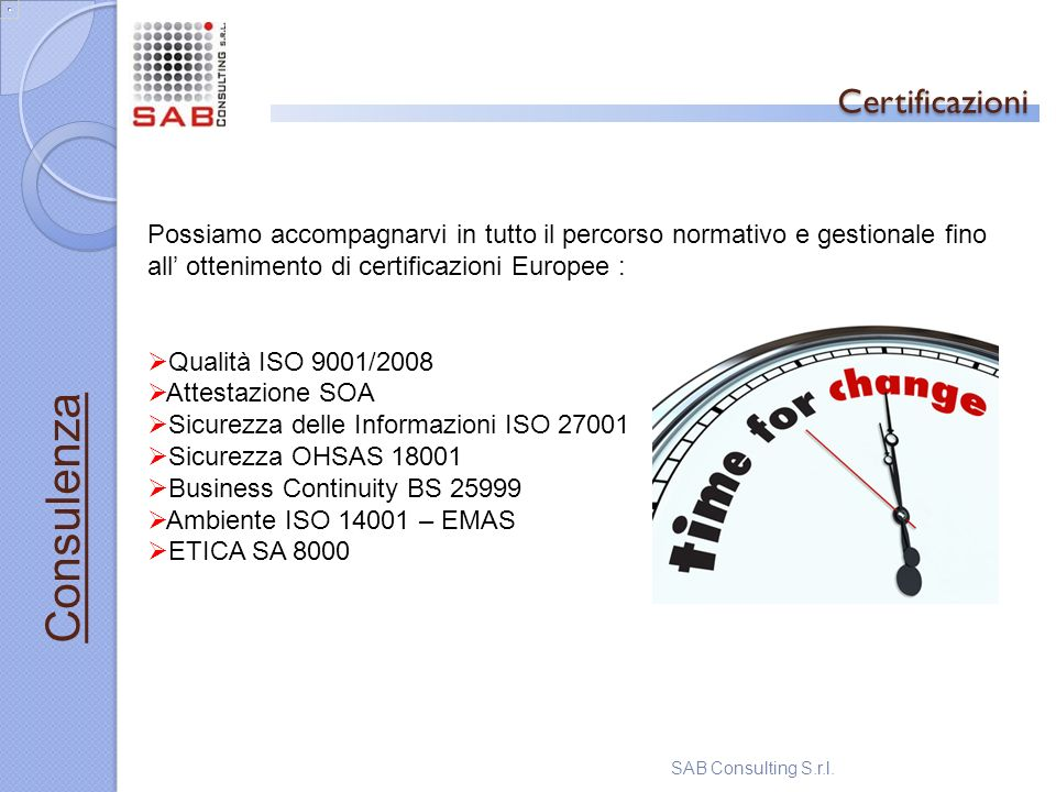 Certificazioni Consulenza