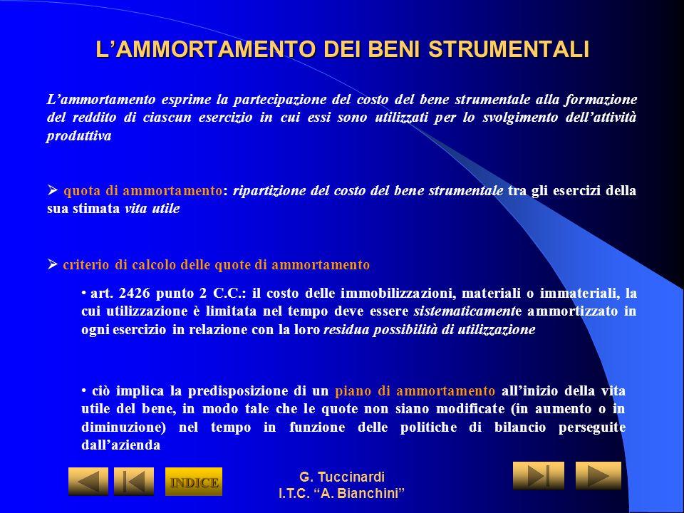 L'AMMORTAMENTO DEI BENI STRUMENTALI