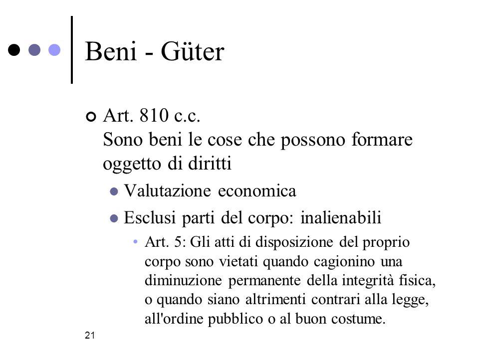 Beni - Güter Art. 810 c.c. Sono beni le cose che possono formare oggetto di diritti. Valutazione economica.