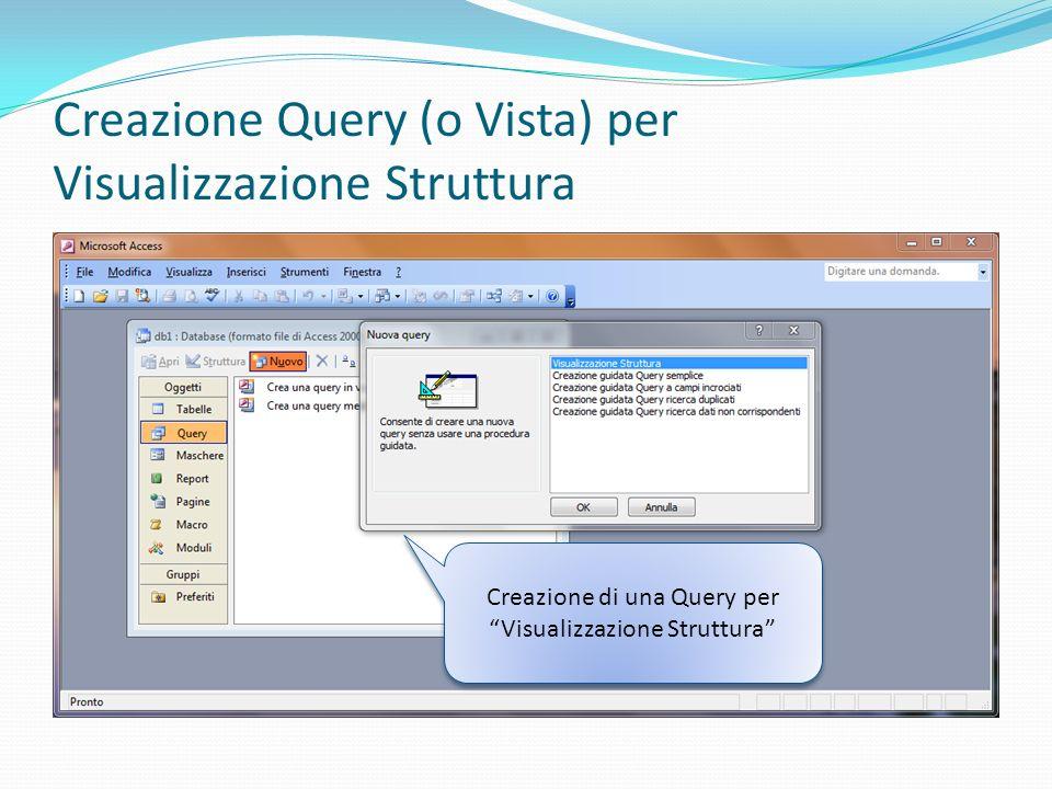 Creazione Query (o Vista) per Visualizzazione Struttura