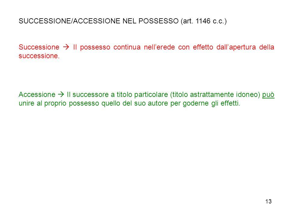 SUCCESSIONE/ACCESSIONE NEL POSSESSO (art. 1146 c.c.)