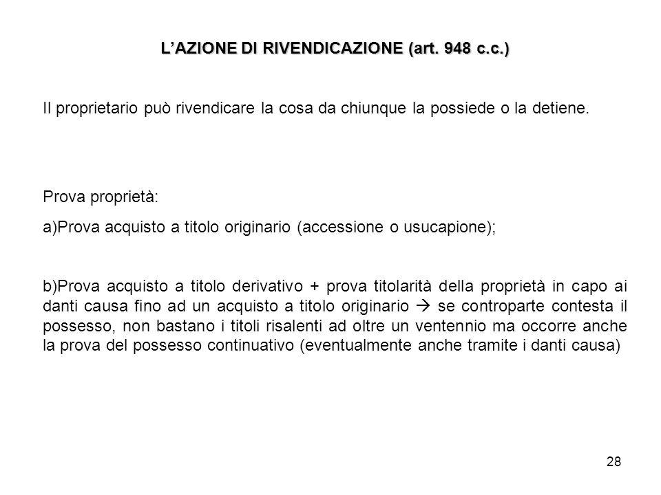 L'AZIONE DI RIVENDICAZIONE (art. 948 c.c.)