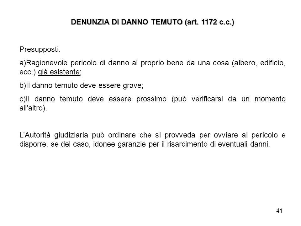 DENUNZIA DI DANNO TEMUTO (art. 1172 c.c.)