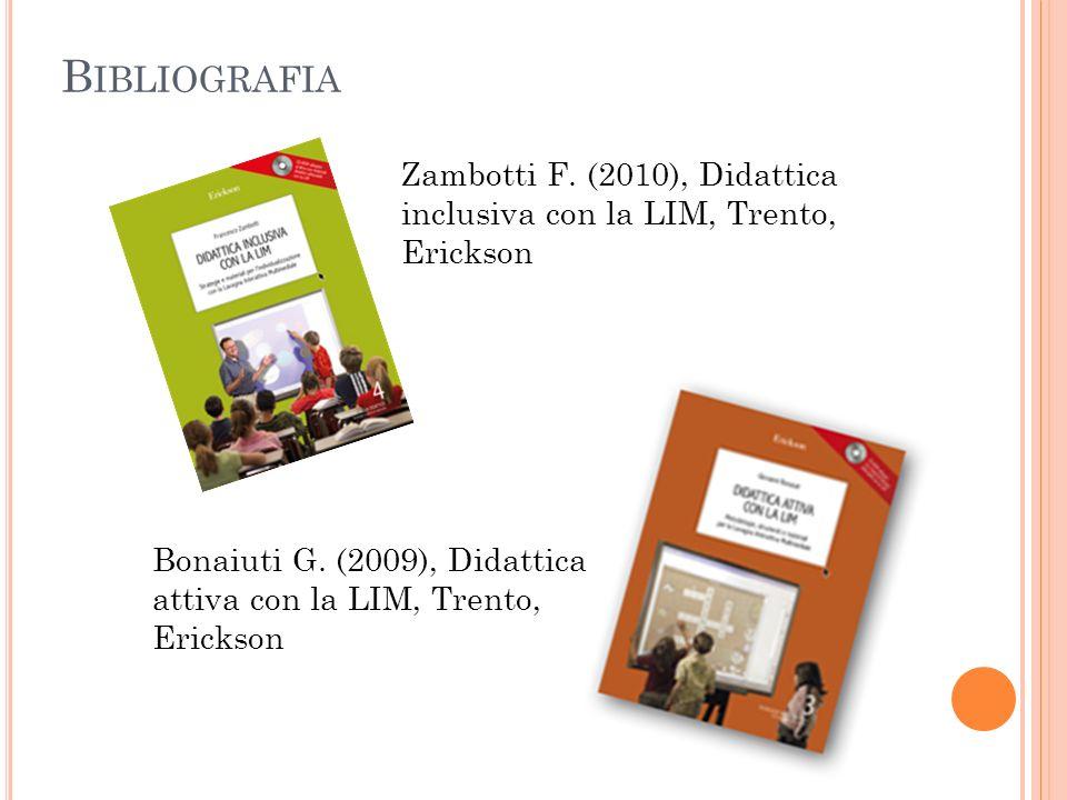 Bibliografia Zambotti F. (2010), Didattica inclusiva con la LIM, Trento, Erickson.