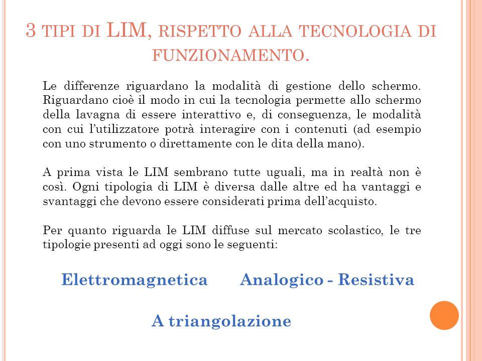 3 tipi di LIM, rispetto alla tecnologia di funzionamento.