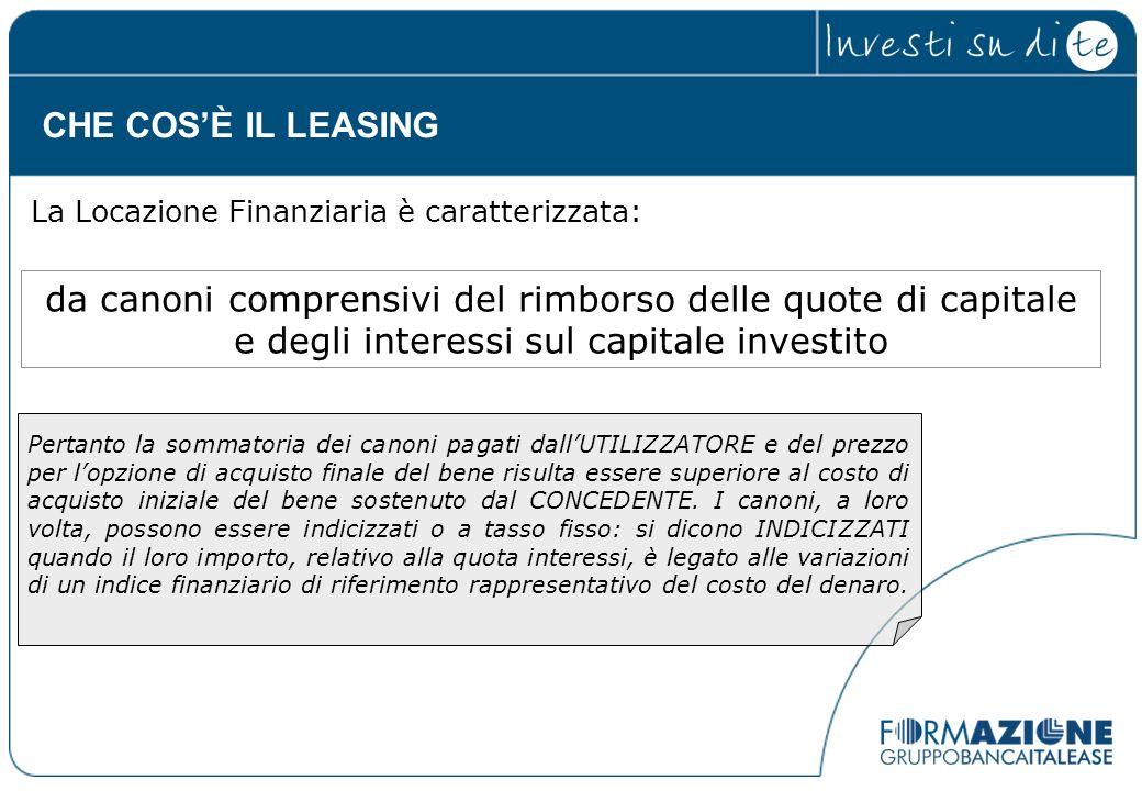 CHE COS'È IL LEASING La Locazione Finanziaria è caratterizzata: