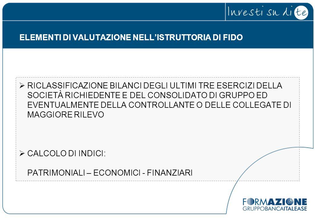 ELEMENTI DI VALUTAZIONE NELL'ISTRUTTORIA DI FIDO