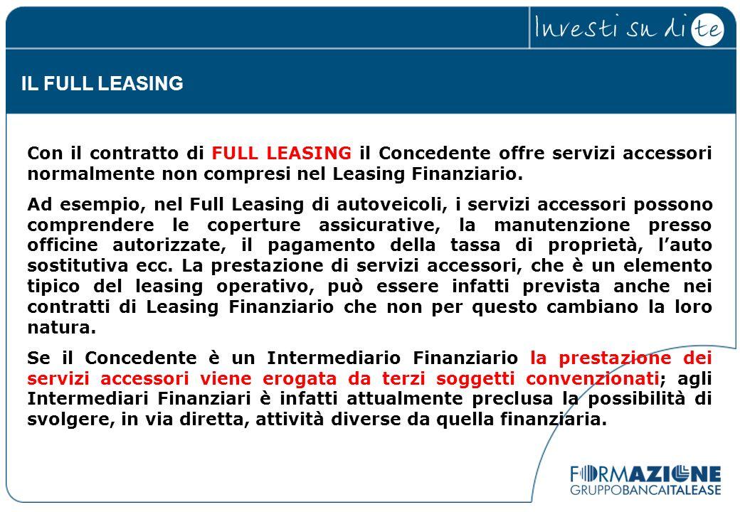 IL FULL LEASING Con il contratto di FULL LEASING il Concedente offre servizi accessori normalmente non compresi nel Leasing Finanziario.