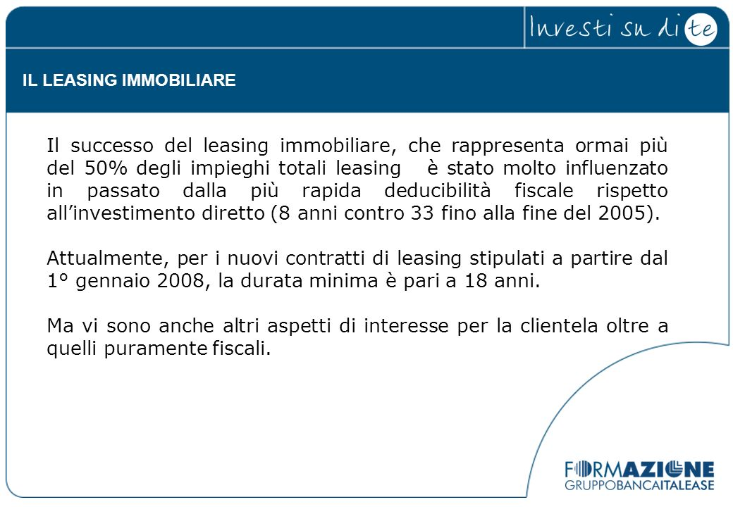 IL LEASING IMMOBILIARE