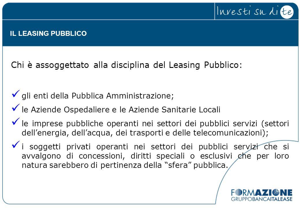 Chi è assoggettato alla disciplina del Leasing Pubblico: