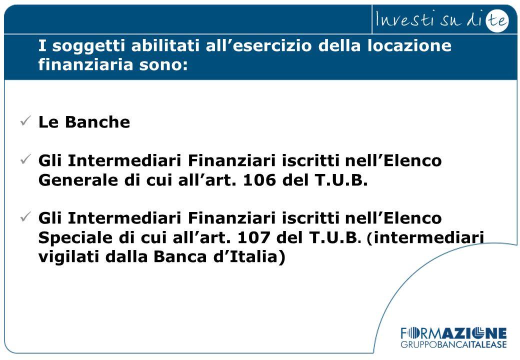 I soggetti abilitati all'esercizio della locazione finanziaria sono: