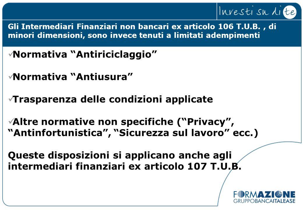 Normativa Antiriciclaggio Normativa Antiusura