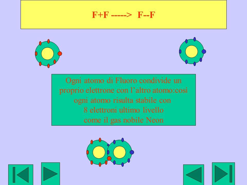 F+F -----> F--F Ogni atomo di Fluoro condivide un