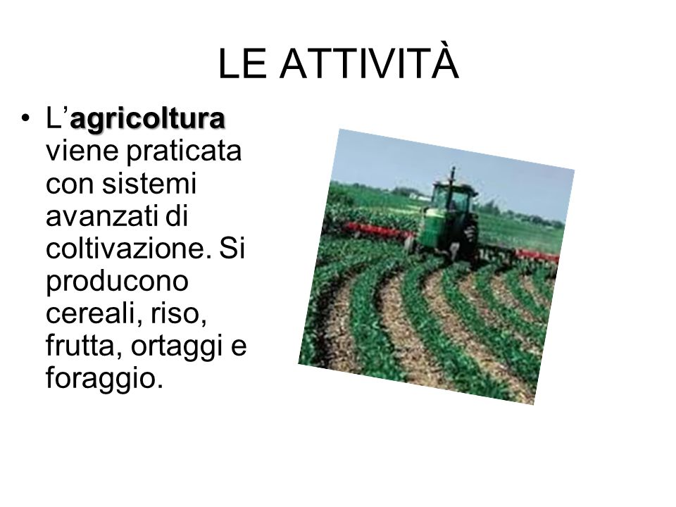 LE ATTIVITÀL'agricoltura viene praticata con sistemi avanzati di coltivazione.