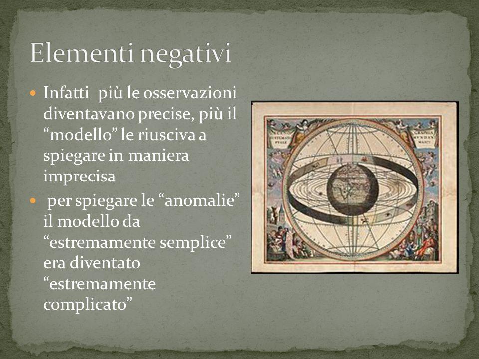 Elementi negativi Infatti più le osservazioni diventavano precise, più il modello le riusciva a spiegare in maniera imprecisa.