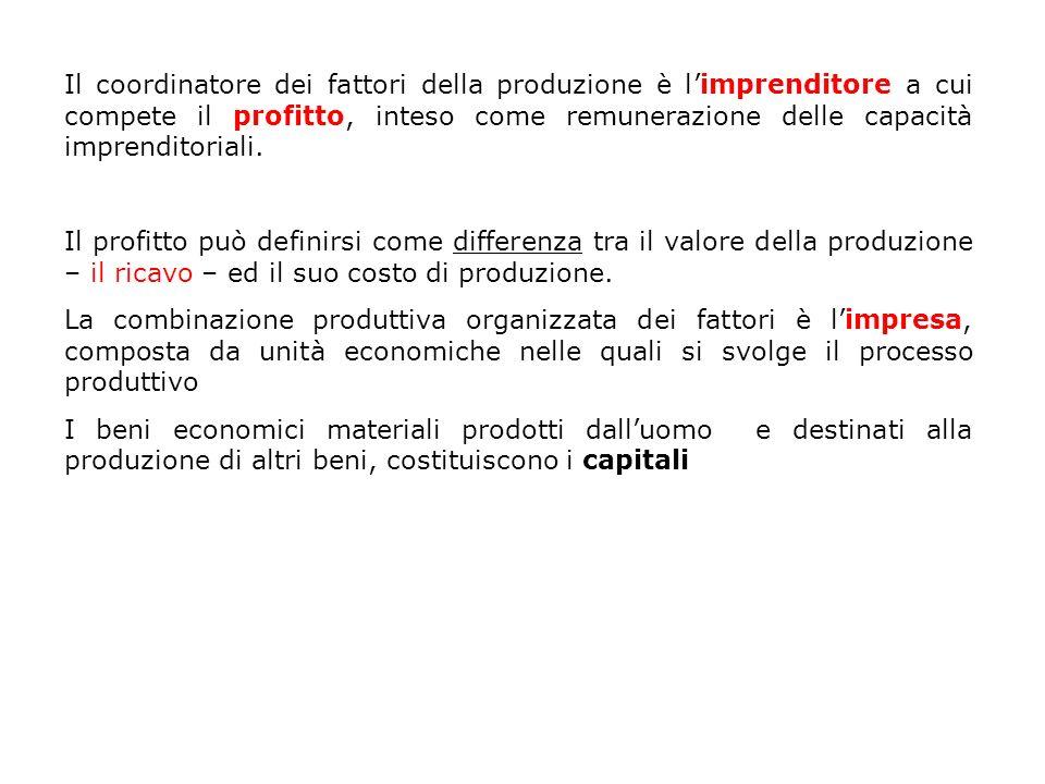 Il coordinatore dei fattori della produzione è l'imprenditore a cui compete il profitto, inteso come remunerazione delle capacità imprenditoriali.