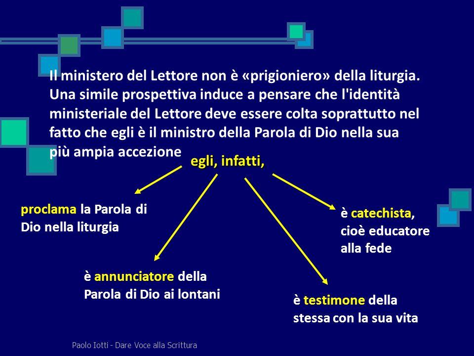 Il ministero del Lettore non è «prigioniero» della liturgia
