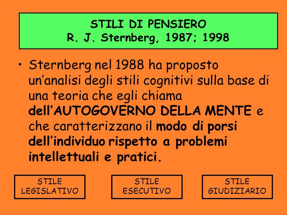 STILI DI PENSIERO R. J. Sternberg, 1987; 1998