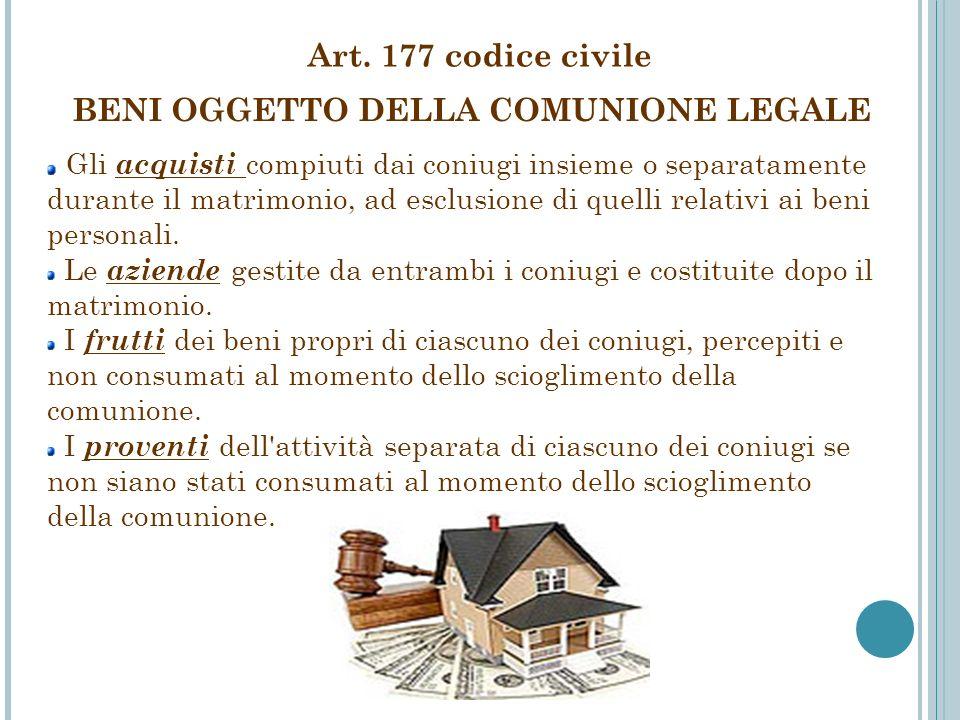 BENI OGGETTO DELLA COMUNIONE LEGALE
