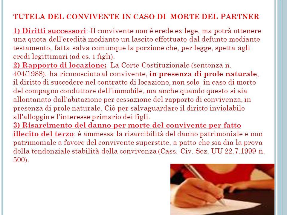 TUTELA DEL CONVIVENTE IN CASO DI MORTE DEL PARTNER