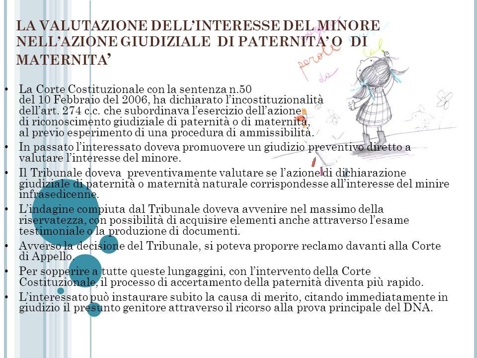 LA VALUTAZIONE DELL'INTERESSE DEL MINORE NELL'AZIONE GIUDIZIALE DI PATERNITA' O DI MATERNITA'