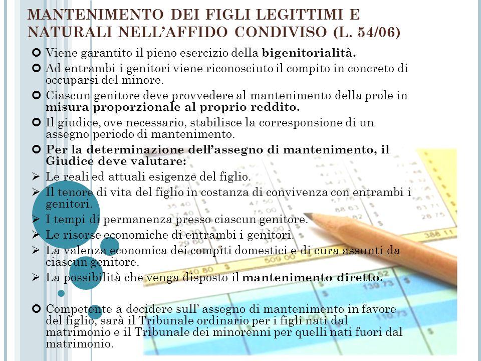 MANTENIMENTO DEI FIGLI LEGITTIMI E NATURALI NELL'AFFIDO CONDIVISO (L