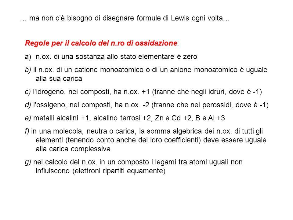 … ma non c'è bisogno di disegnare formule di Lewis ogni volta…