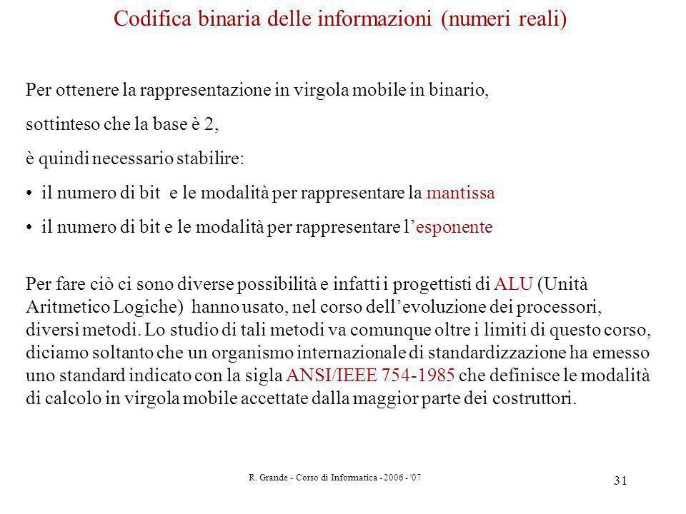 Codifica binaria delle informazioni (numeri reali)