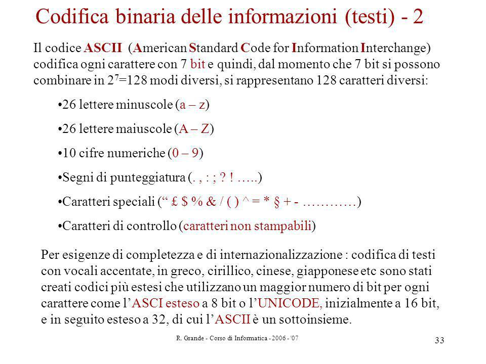 Codifica binaria delle informazioni (testi) - 2