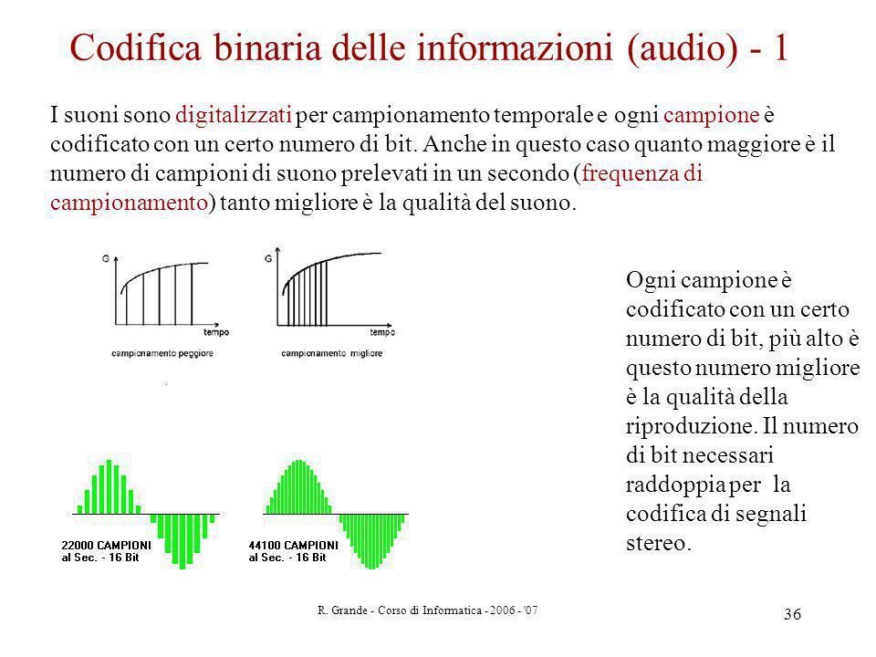 Codifica binaria delle informazioni (audio) - 1