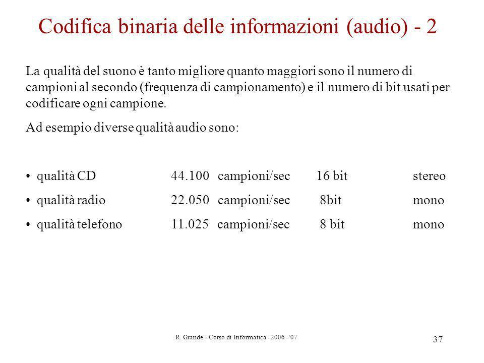 Codifica binaria delle informazioni (audio) - 2