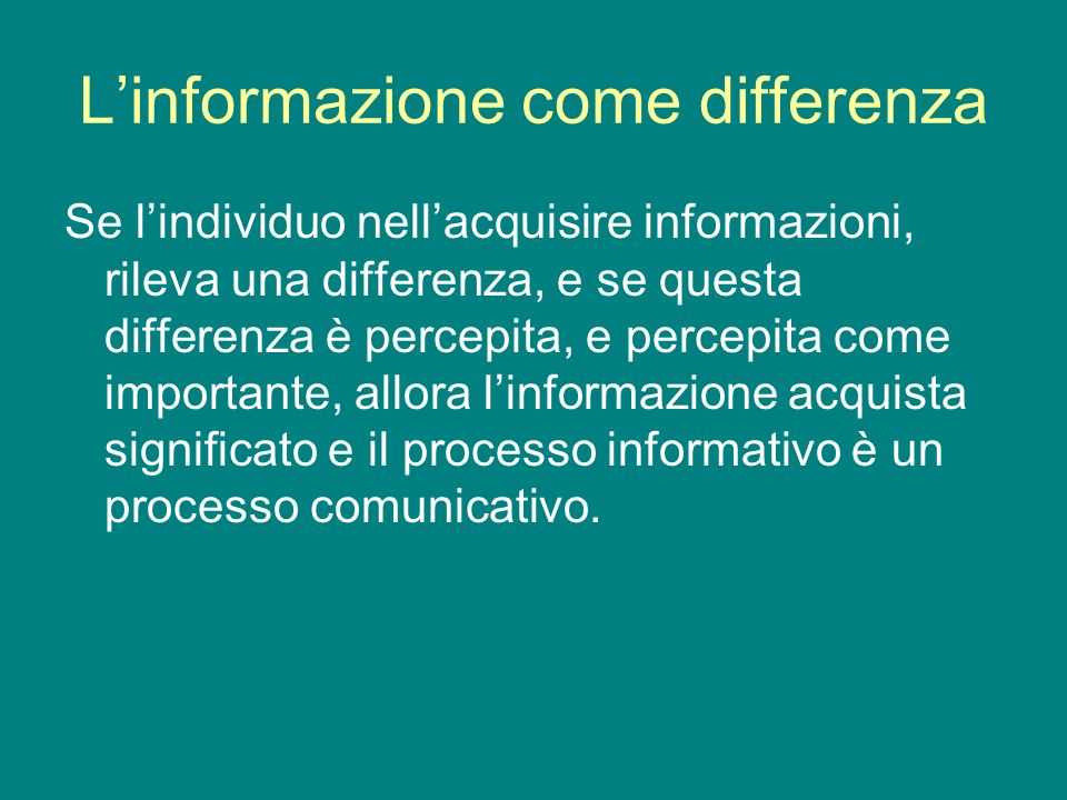 L'informazione come differenza