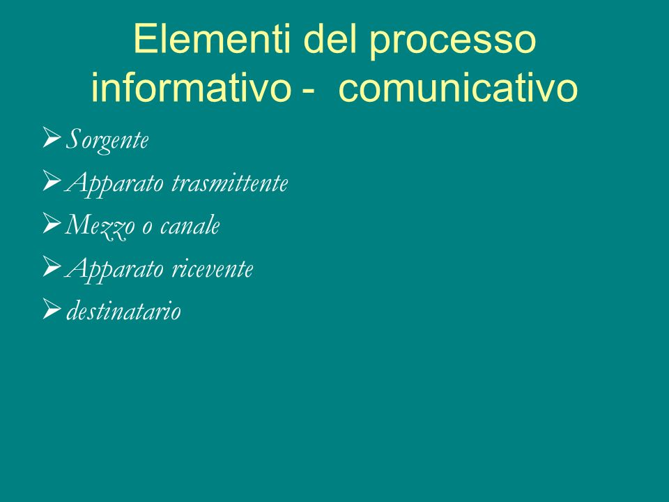 Elementi del processo informativo - comunicativo
