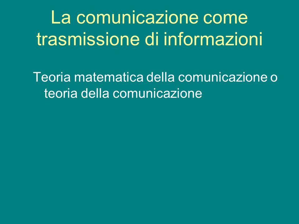La comunicazione come trasmissione di informazioni