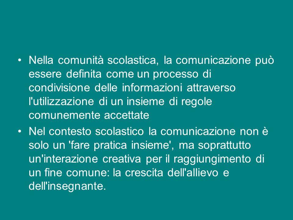 Nella comunità scolastica, la comunicazione può essere definita come un processo di condivisione delle informazioni attraverso l utilizzazione di un insieme di regole comunemente accettate