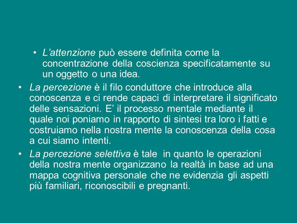 L'attenzione può essere definita come la concentrazione della coscienza specificatamente su un oggetto o una idea.
