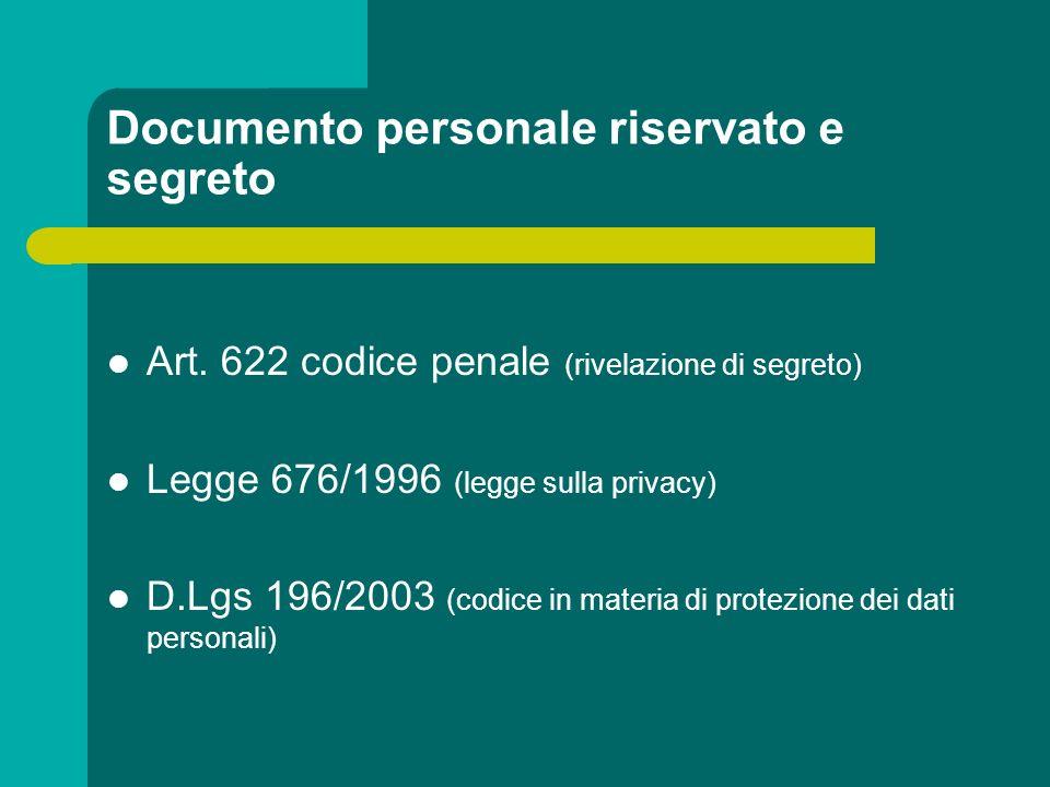 Documento personale riservato e segreto