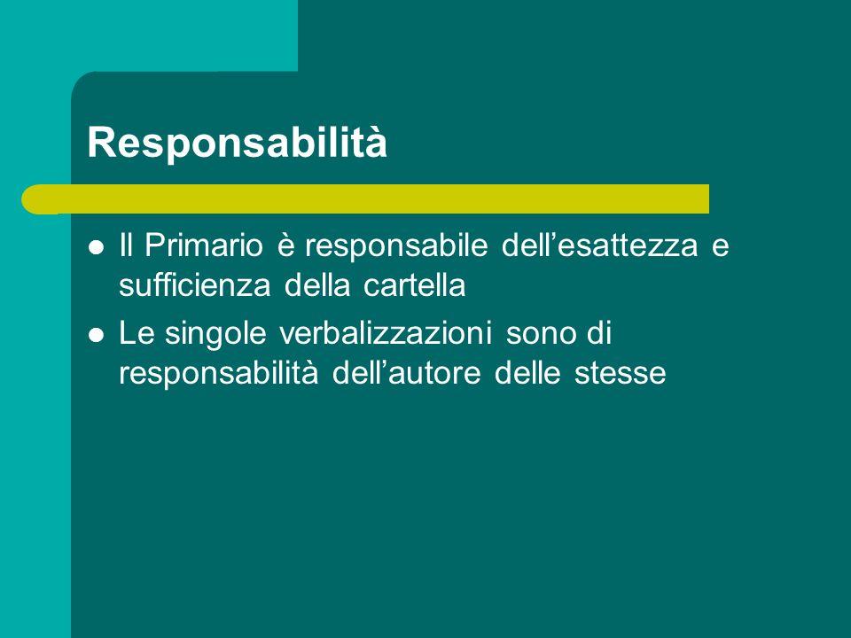 Responsabilità Il Primario è responsabile dell'esattezza e sufficienza della cartella.