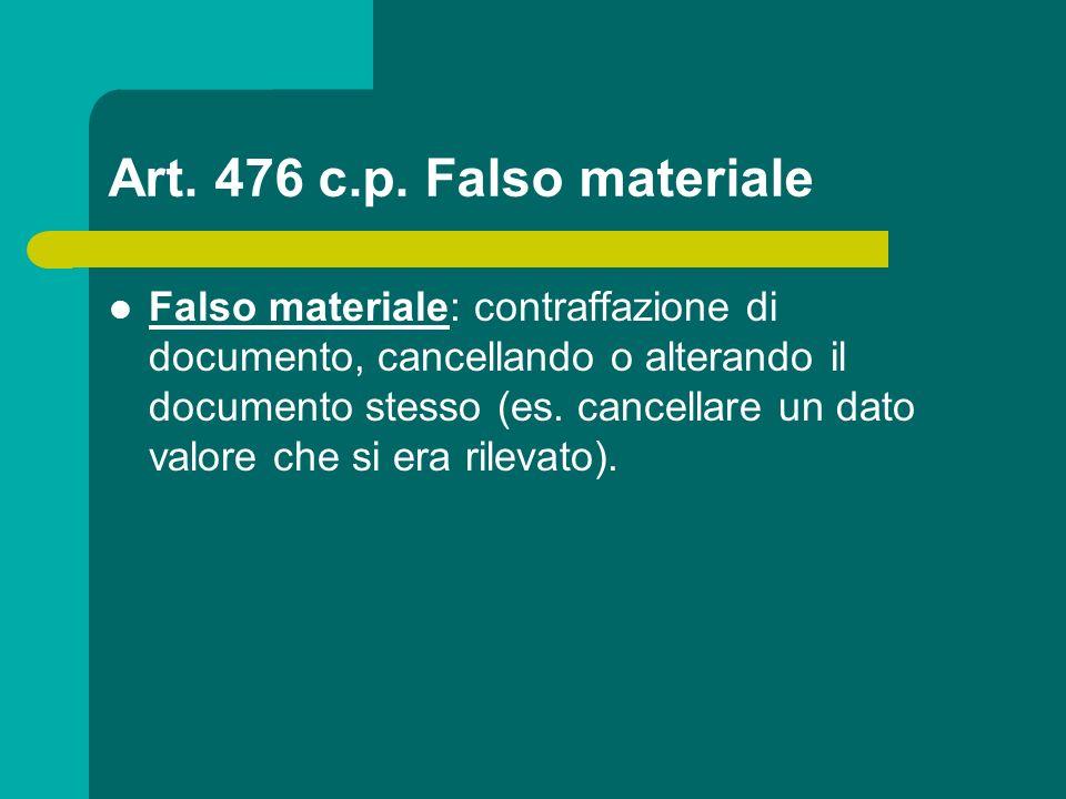 Art. 476 c.p. Falso materiale