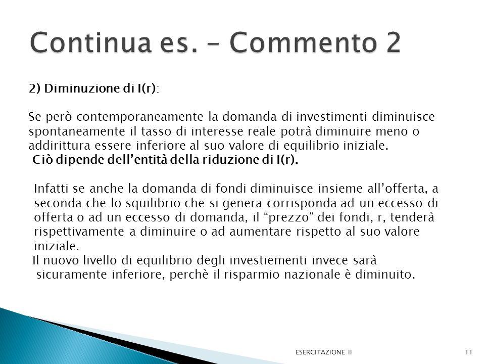 Continua es. – Commento 2 2) Diminuzione di I(r):