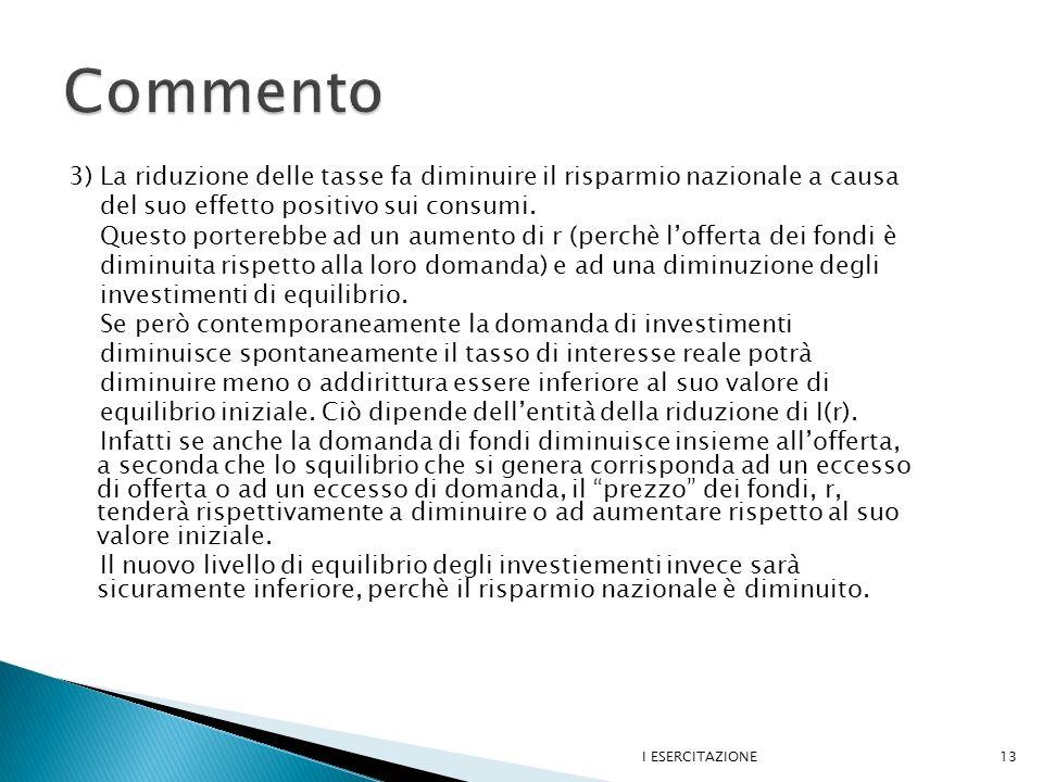 Commento 3) La riduzione delle tasse fa diminuire il risparmio nazionale a causa. del suo effetto positivo sui consumi.