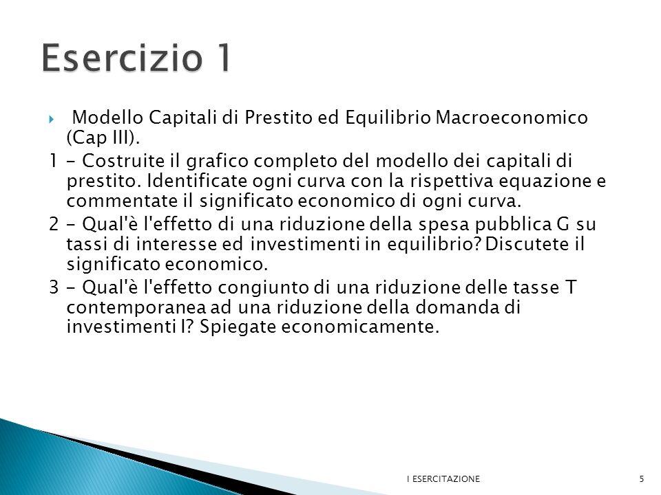 Esercizio 1 Modello Capitali di Prestito ed Equilibrio Macroeconomico (Cap III).