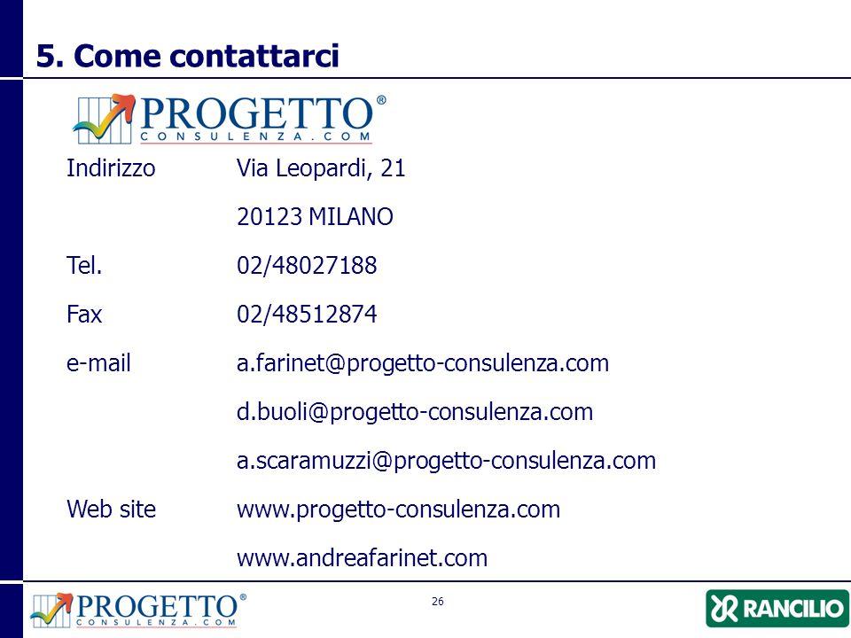 5. Come contattarci Indirizzo Via Leopardi, 21 20123 MILANO