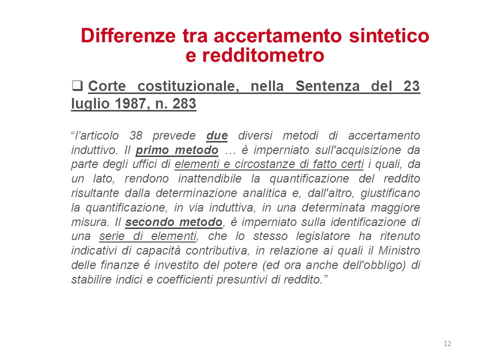 Differenze tra accertamento sintetico e redditometro