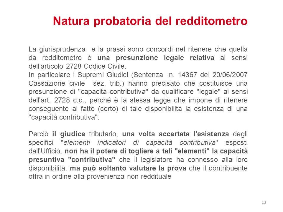 Natura probatoria del redditometro