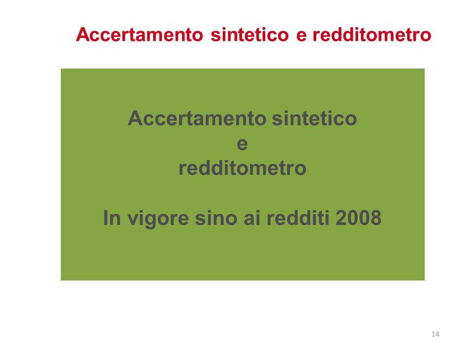 Accertamento sintetico e redditometro In vigore sino ai redditi 2008